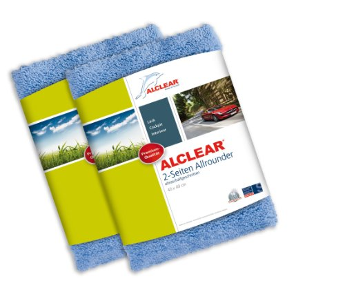 ALCLEAR Polishing Cloths 2-Sided All-Rounder without Premium Holograms for Cars / Yachting and Polishing Machines Set of 2 40 x 40 cm Blue