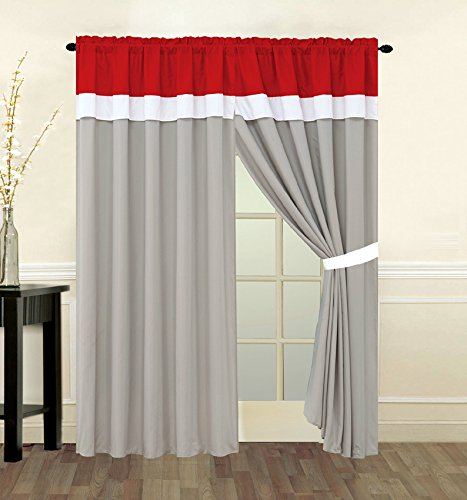 4 Piece Red, Grey And White Curtain Set With Attached Valance And Sheers front-754826