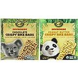 Envirokidz Gluten Free Low Sodium Crispy Rice Bars 2 Flavor Variety Bundle: (1) Envirokidz Chocolate Crispy Rice Bars, and (1) Envirokidz Peanut Butter Crispy Rice Bars, 6 Oz. Ea. (2 Boxes Total)