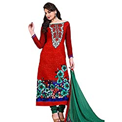 Rozdeal Women Georgette Printed Unstitched Long Sleeve Red Anarkali Suit