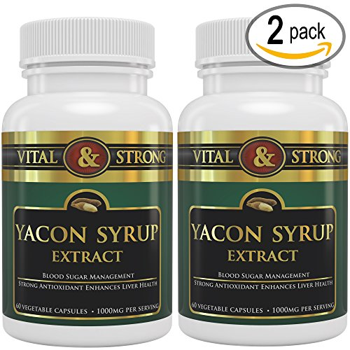 #1 Vital & Strong ™ 100% Pure Yacon Syrup Extract - Maximum Strength Herbal Detox, Cleanse, Weight Loss & Glucose Management - Organic Antioxidant Nutritional Appetite Suppressant & Fat Burner Weight Loss Supplement - 1000 Mg Per Serving - 120 Count