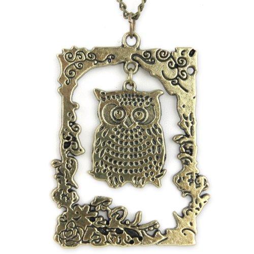 Framed Swinging Owl Pendant - Brass Necklace