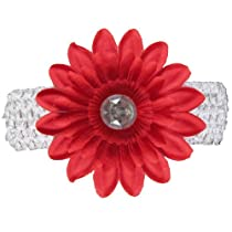 Red Jewel Gerbera Daisy Flower White Crochet Headband Gerber - girls child baby toddler apparel head hair band bow bows girl soft infant youth accessory