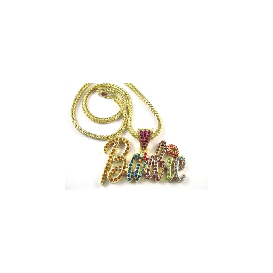 NEW NICKI MINAJ BARBIE Pendant w/Franco Chain Gold Small, Multi