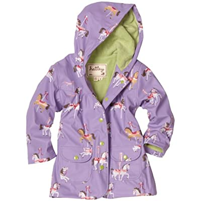 Hatley Girls Rain Coat - Purple Merry-Go-Round Horses