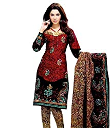 Miraan Women's Cotton Unstitched Salwar Suit Dress Material (Sg314 _Maroon _Free Size)
