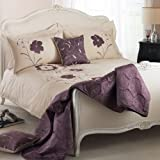 Dauphine Floral Applique EmbroideHeather Bedding Duvet Quilt Cover Set, Cream / Heather - Single Size