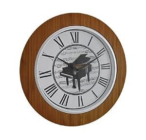 Decorative Bamboo Wall Clock with Piano Music Design