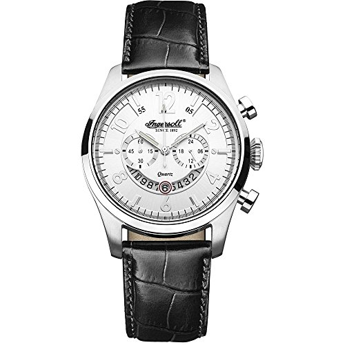 Ingersoll INQ 007 WHSL - Reloj para hombres, correa de cuero color negro