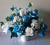 Turquoise Rose Table Centerpiece - Flower Arrangement - Wedding Decoration Sale