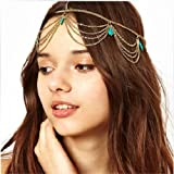ChineOn Women Girl Boho Bohemian Sexy Green Stone Tassels Headband Link Chain Cuff Headpiece