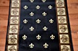 "Black Fleur-De-Lys Carpet Runner Rug 31""W - Purchase By the Linear Foot"