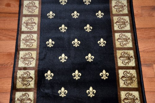 Dean Flooring Company Black Fleur De Lys Carpet Runner Rug