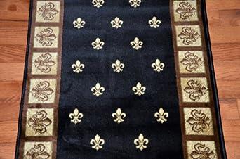 black fleur de lys carpet runner rug 31 w custom lengths purchase by the linear. Black Bedroom Furniture Sets. Home Design Ideas