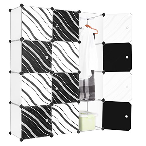 LANGRIA 12-Cube DIY Modular Shelving Storage Organizing Closet with Translucent Zebra Striped Doors Design for Clothes, Shoes, Toys and Books (White and Black) (Cube Storage Display compare prices)
