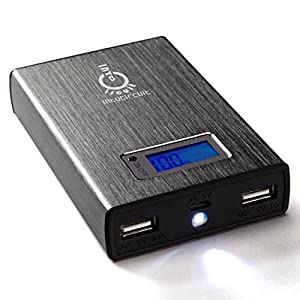 Intocircuit 11200mAh Dual USB Portable External Battery Charger with Smart LCD Display & LED Flashlight, Gray