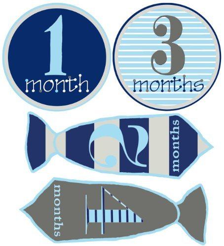 Mumsy Goose Baby Boy Stickers Monthly Age Stickers 1-12 Months Ties and Circles