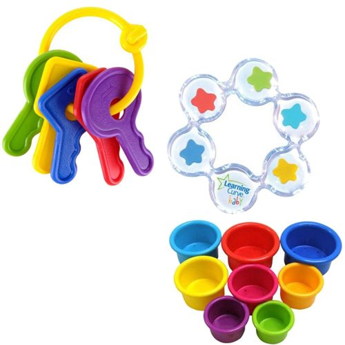 Learning Curve First Keys Teether Plus Stack N Count Cups and Floating Stars Teether Bundle