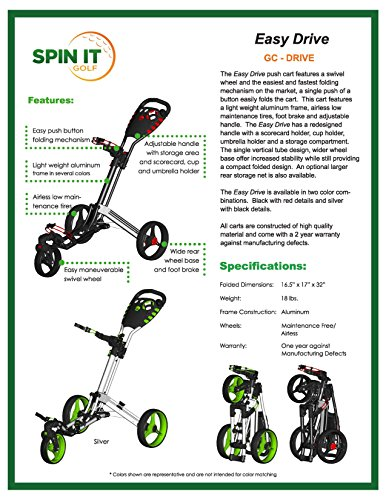 Spin It Golf Products Easy Drive Push Cart, Silver golf 80021