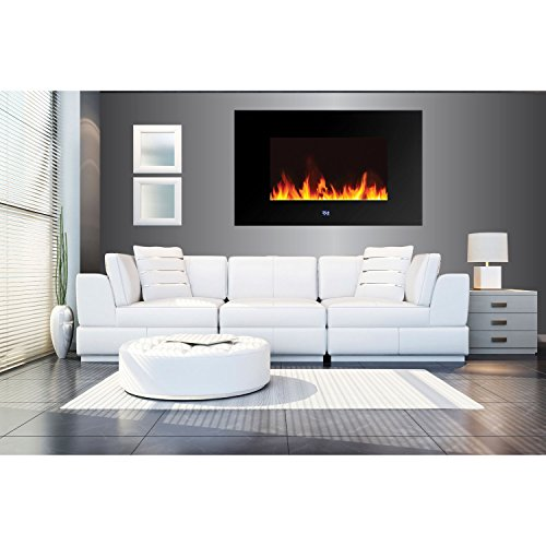 Frigidaire WLVF-10343 Venice Horizontal Wall-Mounted LED Fireplace with Digital Display and Remote Control, Black
