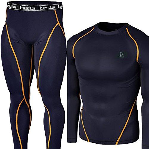 (テスラ)TESLA スポーツタイツ+ラウンドネック お得上下セット  [UVカット・吸汗速乾] コンプレッションウェア オールシーズン アンダーウェア【サイクリング・トレ-ニング・サッカー・スキー・スノーボード・サーフィン・ ゴルフウェア】P6R1 (NO+NO, XL)