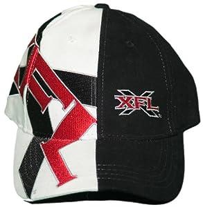 New! XFL Black & White Embroidered Adjustable Velcro Back Cap