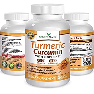 ★ BEST EXTRA STRENGTH Turmeric Curcumin with BIOPERINE Supplement ★ 100% Natural Root Powder Extract Pills Best For Inflammation Joint Pain Relief 90 Piperine Black Pepper Capsules NO RISK GUARANTEE!