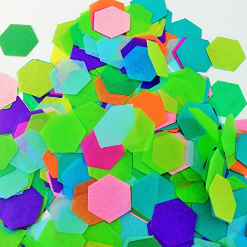 Confetti Hexagon 1.75 X 1.75 Inches 10 Different Colors