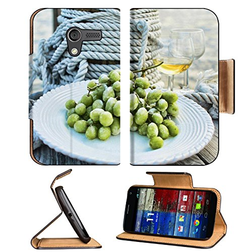 Frozen Grapes And Wine Fruit Beverage Motorola Moto X Flip Case Stand Magnetic Cover Open Ports Customized Made To Order Support Ready Premium Deluxe Pu Leather 5 7/16 Inch (138Mm) X 3 1/16 Inch (78Mm) X 9/16 Inch (14Mm) Luxlady Mobility Cover Professiona front-684742