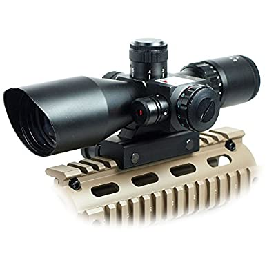 Chinoook 2.5-10x40 Tactical Rifle Scope Mil-dot Dual illuminated w/ Red Laser & Mount by Qinuke