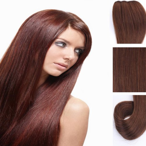 Yazilind Clip in Straight Remy Real Human Hair Extensions 20″ 100g 8pcs 4# Dark Brown Full Head Set