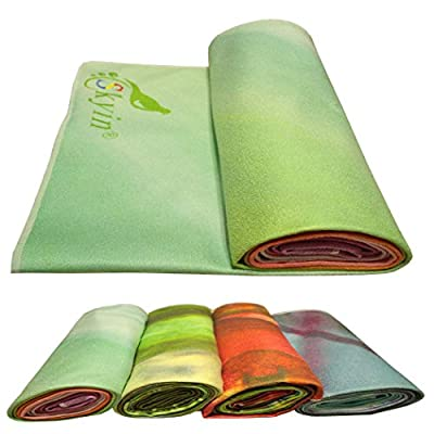 Yoga Towel by SKYIN®Exclusive Pockets at Each Corner ,Money Back Guarantee★ On Sale ★Best Value,Exclusive Pockets cover each corner of the mat,Eco-friendly, Non-slip, Microfiber Yoga Towel ,Ideal for Bikram, Hot Yoga, Pilates, or Sweaty Practice.Eco-