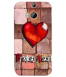 PrintVisa Romantic Love Broken Heart 3D Hard Polycarbonate Designer Back Case Cover for HTC One M8