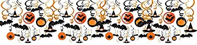 Amscan New Age Scare Halloween Party Witches & Bats Swirl Ceiling Hanging Decoration, One Size, Multicolor by Amscan