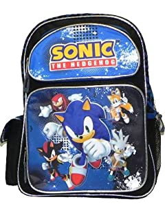 Sonic The Hedgehog Large 16 Backpack - Silver Piping by AI