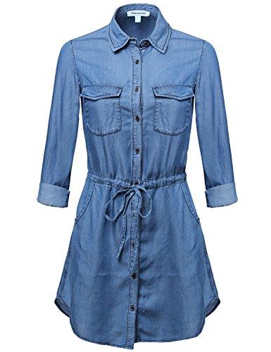 Classic Denim Long Sleeve Buttondown Dress Top Blue L Size