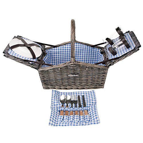 For Sale! Zelancio Deluxe Wicker Picnic Basket, Double Lid Service for Two Fully Loaded