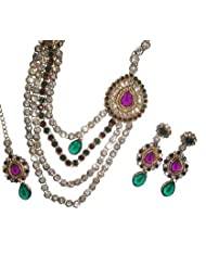 Monalisa Exports Purple Green Kundan Bridal Jewellery Set For Women