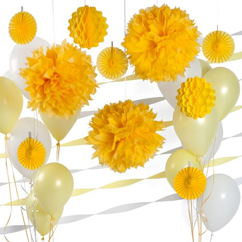 Party Decoration Kit - Yellow And White Party Supplies front-148710