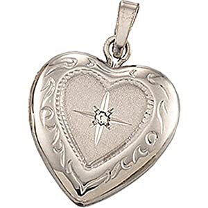 IceCarats Designer Jewelry 14K White Gold Heart Locket With Diamond Accent 13.50X12.75 Mm