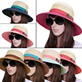 Ladies Wide Brim Leather Strap Decor Woven Straw Color Block Beach Sun Hat by NYC Leather Factory Outlet