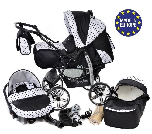 3-in-1 Travel System with Baby Pram, Car Seat, Pushchair & Accessories, Black & Black Polka Dots