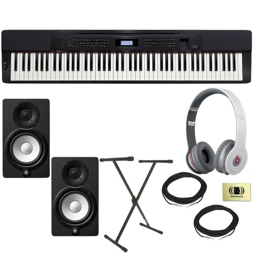 Casio Privia Px-350 Digital Piano Bundle With Beats By Dr. Dre Solo Hd On-Ear Headphones (White), 2 Yamaha Hs5 Speakers, 2 Conquest Sound Speaker Cables, Stageline X-Style Keyboard Stand And Custom Designed Zorro Sounds Instrument Cloth