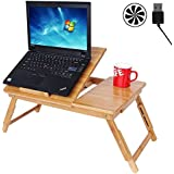 Songmics 100% Bamboo Portable Laptop Desk USB Fan Foldable Breakfast Serving Bed Tray w' Tilting Top Drawer ULLD003