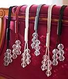Raffhalter mit Perlenkordel, Weiß