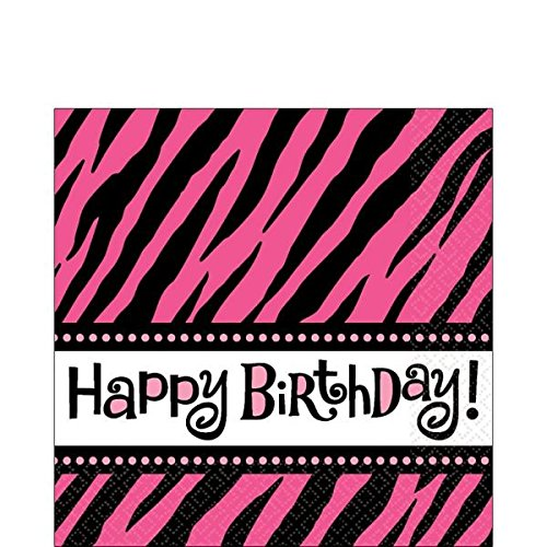 Zebra Stripes Animal Print Happy Birthday Napkins x 16
