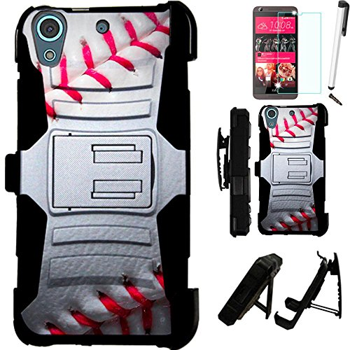 Click to buy For HTC Desire 625 (Cricket) Armor Hybrid Case Silicone Cover Kick Stand LuxGuard Holster+[WORLD ACC®] LCD Screen Protector+Stylus+Dust Cap (Baseball/Black) - From only $10.99