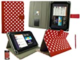 Emartbuy® Red Dual Function Stylus + Universal Range ( 8 - 9 Inch ) Polka Dots Red / White Multi Angle Executive Folio Wallet Case Cover With Card Slots Suitable for Archos 80 Cobalt 8 Inch Tablet
