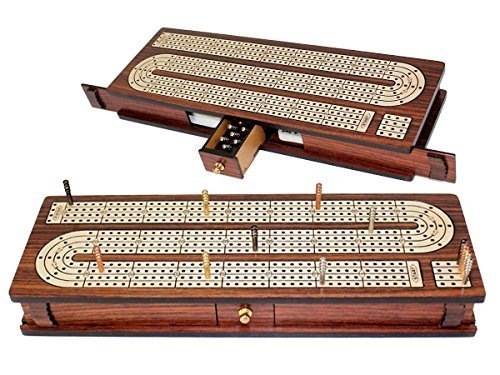 House of Cribbage - Continuous Cribbage Board Inlaid 4 Tracks Rosewood/Maple with Sliding Lids and Drawer