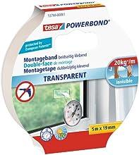 tesa doppelseitiges Montageband Powerbond TRANSPARENT, 5m